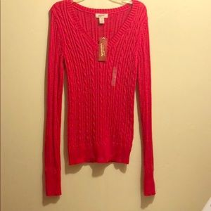 New Arizona bright rose pink cable knit sweater